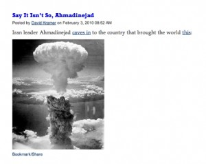David Kramer, Ahmadinejad