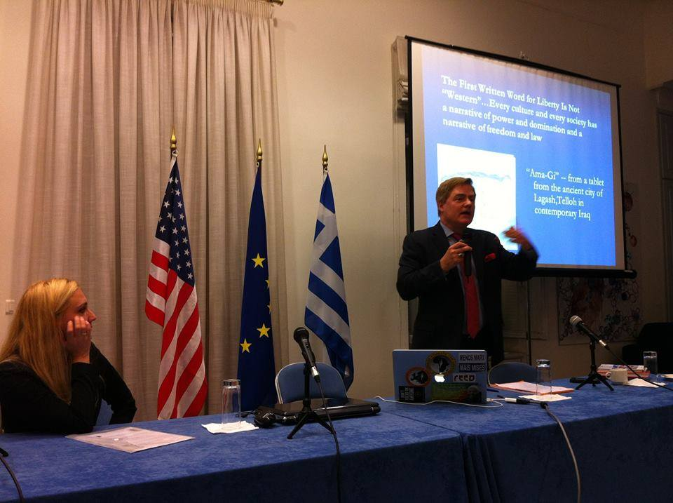 "Lecturing on ""A Brief History of Liberty"" in Athens."