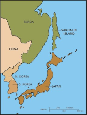 Map showing the islands of Sakhalin, Hokkaido and Honshu